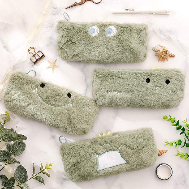 Cute Dinosaur Park Plush Pencil Case Kawaii Pencilcase School Round Pen Case Supplies Pencil Bag School Pencils Pouch Stationery