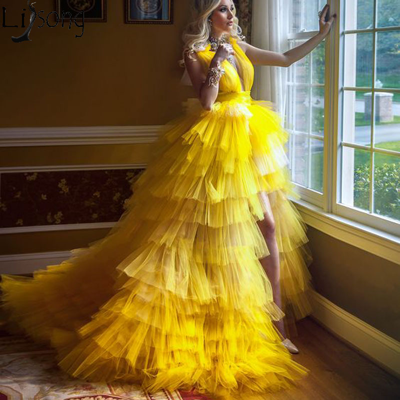 Amazing Yellow High Low Prom Dresses Puffy Tiered Tulle Deep V Neck Pageant Formal Dress Sweep Train Evening Party Gowns 2020