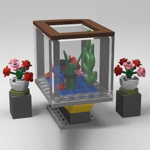 Stadt MOC Serie Spielzeug Für Kinder Bildungs Zug Geschenke Präsentieren Neue Jahr Lebensmittel Sets Möbel Heißer Luft Ballon Gebäude Blöcke