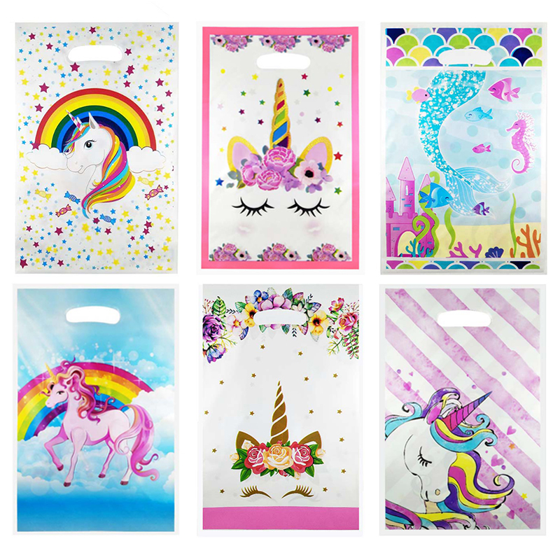 Unicorn Plastic Gift Bags Unicorn Party Bags Unicorn Birthday Party Decorations Kids Baby Shower Wedding Candy Bags With Handles