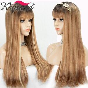 Image 2 - Perucas sintéticas longas retas com franja destaque mel loira ombre cosplay perucas para mulheres preto marrom raiz peruca resistente ao calor