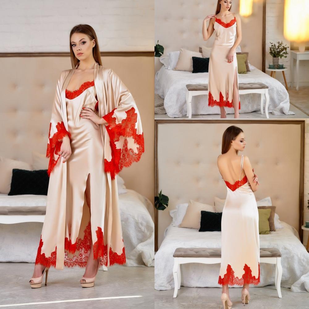 Champagne Silk Satin Bridal Nightgown Night Dress Lace Long Sleeves Sleepwear Nightdress Women Nightwear Bridal Boudoir Dress