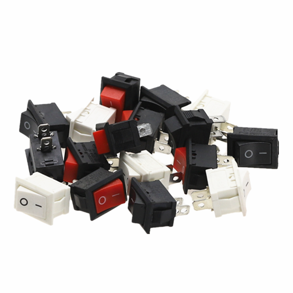 5Pcs KCD1 Rocker Switch Push Button Mini Switch 6A-10A 250V KCD1-101 2Pin Snap-In On/Off 21*15MM Hitam Merah Putih