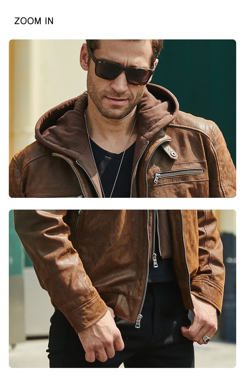 H7b40b959ed5e48eb9706623bd5bbd930l New Men's Leather Jacket, Brown Jacket Made Of Genuine Leather With A Removable Hood, Warm Leather Jacket For Men For The Winter