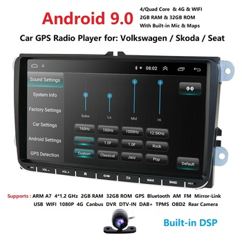 1080P DSP 4G 32G Android 9.0 2 DIN Car GPS PLAYER for Seat Altea Toledo VW GOLF 5/6 Polo Passat B6 CC Tiguan Touran RADIO NO DVD