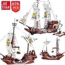 Jie - Star – blocs de construction Black Pearl pour enfants, idées de haute technologie, bateau vengeur avec petites briques, jouets de construction