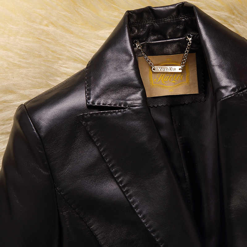 가죽 봄 짧은 정품 레드 200% 양피 자켓 여성 플러스 사이즈 정장 코트 Cuero Genuino TB54282066277