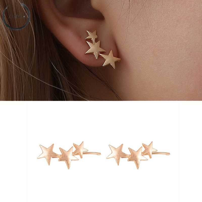 Fashion 1Pair Pentagram Stud Earrings Jewelry Party Gift Fashion Geometric Stars Stud Earrings Golden Silver For Women