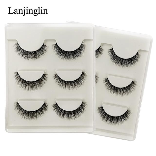LANJINGLIN 10 boxes natural long false eyelashes wholesale make up 3d mink lashes full strip lash eye makeup tool faux cils 1