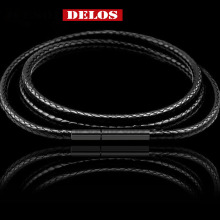 цена на Black Necklace Cord Leather Cord Wax Rope Chain With Stainless Steel Clasp For Men Women DIY Necklace Jewelry Making 3pcs/lots