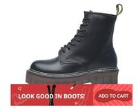 Size 35 42 Flat Platform Boots Women Shoes Autumn Winter Fur Fashion Round Toe Lace up Leather Boots Ladies Shoes