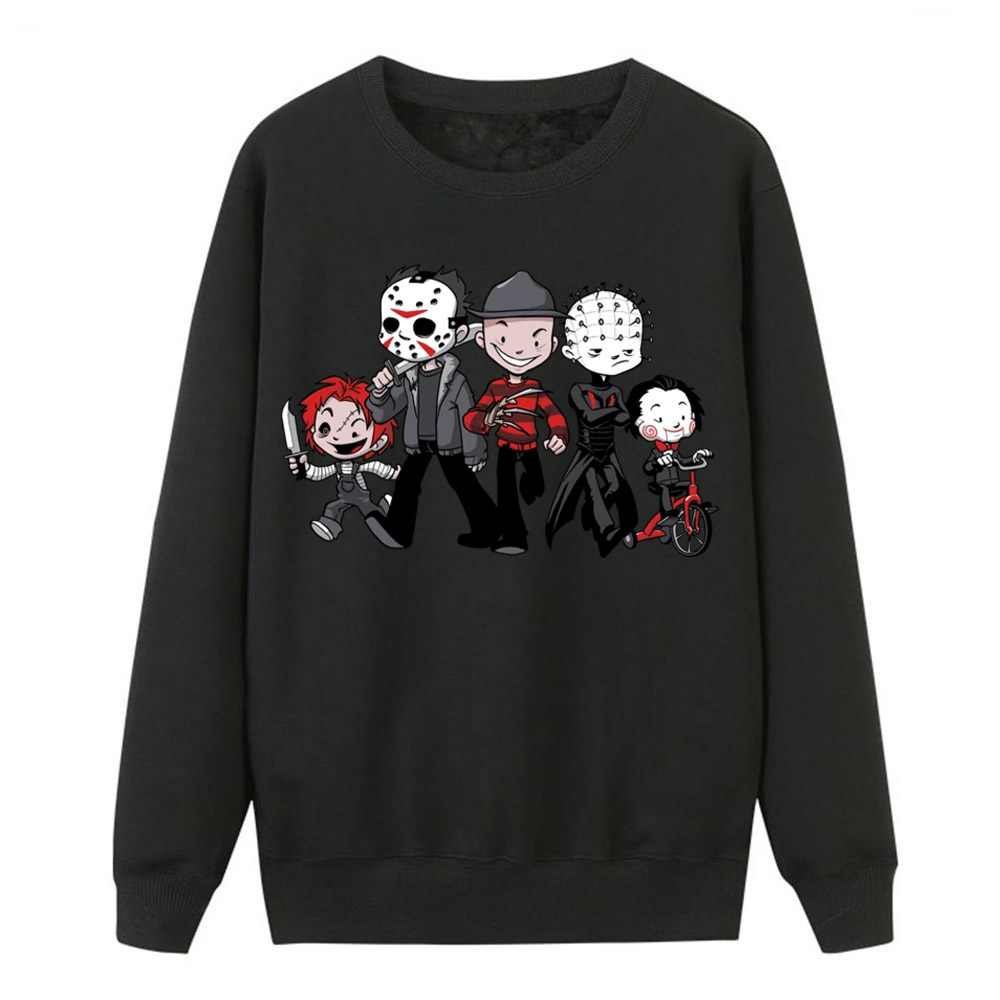 Horror Movie Sweatshirts Women New Spring Hoodies Pullover Funny Cartoon Print Sweatshirt Hot Sell Jason Clown Saw Halloween Top