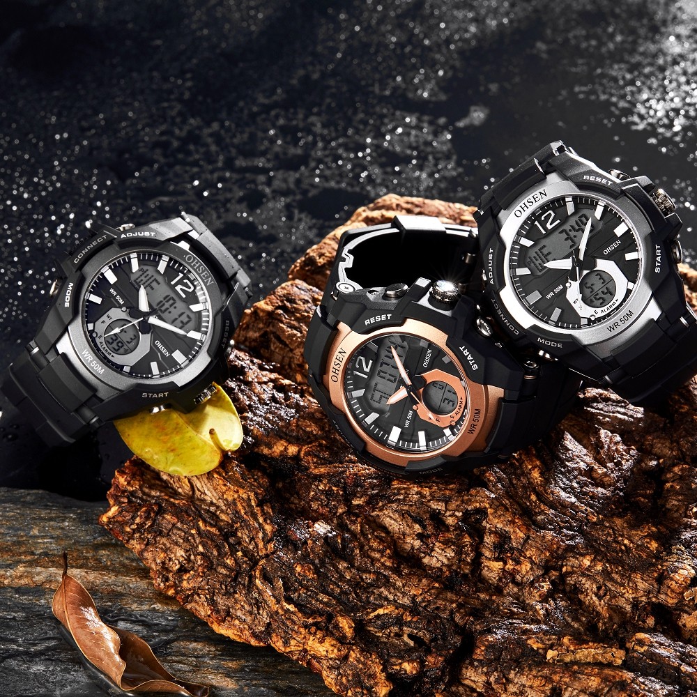 OHSEN Waterproof Digital Quartz Men's <font><b>Watches</b></font> Fashion Gold army Outdoor Sport man Wristwatch Silicone Electronic Male clocks image