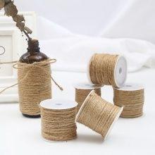 Rollo de cuerda Natural de yute, cuerda de arpillera de cáñamo para fiesta, cuerdas de embalaje de regalo de boda, hilo artesanal para floristería, decoración artesanal, 5-15m