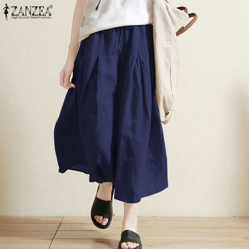ZANZEA 2019 Korean Fashion Style Women Wide Leg Pants Casual Solid Elastic Waist Long Trousers Loose Elegant Pantalon Streetwear