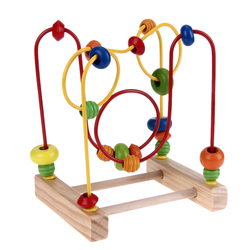 Wooden Toys Baby Math Toys Colorful Mini Around Beads Wire Maze Children Early Educational Toy
