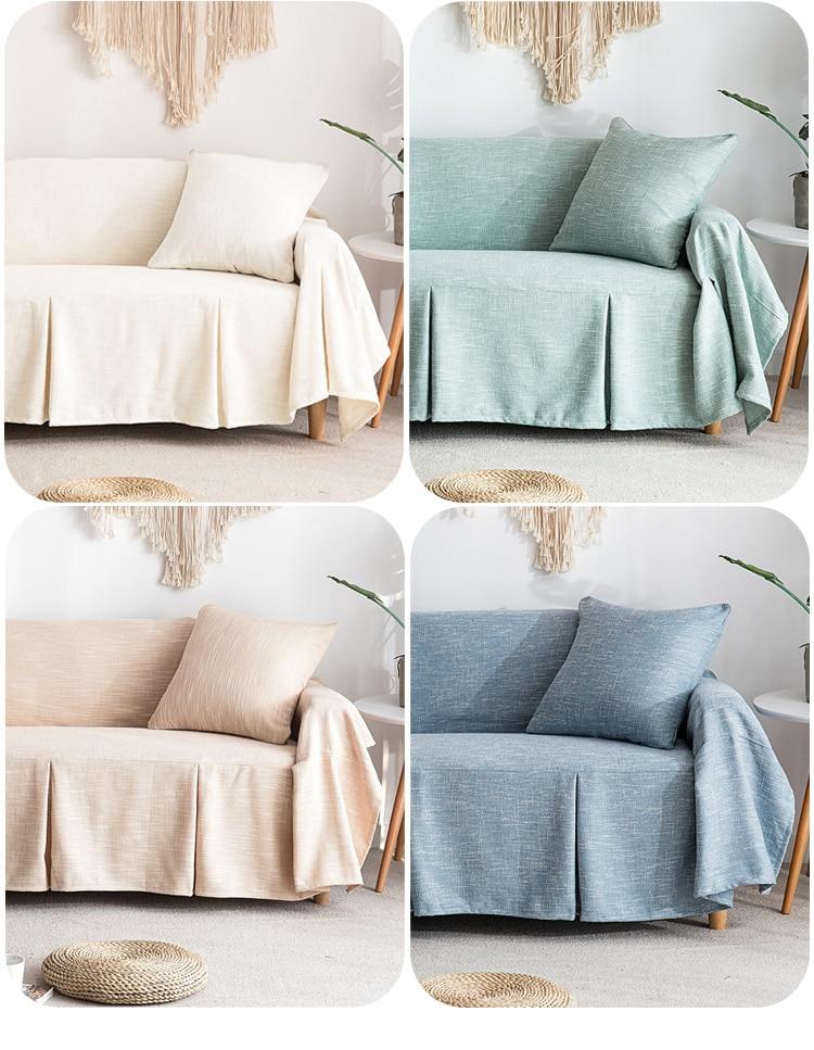 Cor sólida capa de sofá de linho
