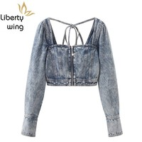 New Fashion Women Sexy Crop Top Backless Lace Up Kpop Ladies Long Sleeve Denim Shirt Square Collar Low Cut Jeans Shirts Tops