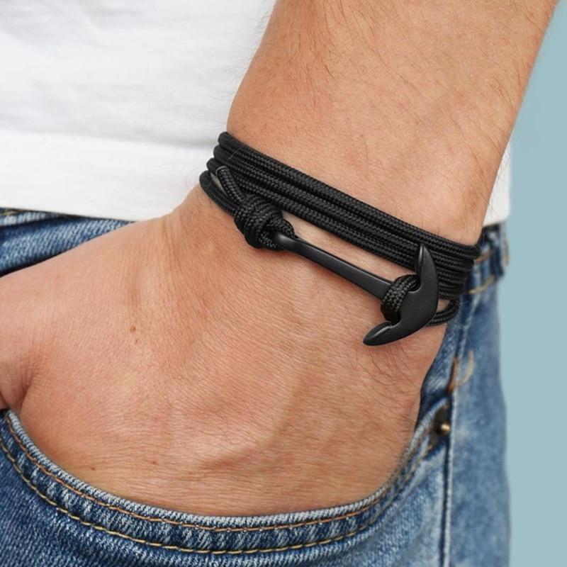 Классический Кожаный браслет с якорем для мужчин 2020, винтажная многослойная веревочная цепь, мужской браслет, ювелирные изделия в подарок, ...