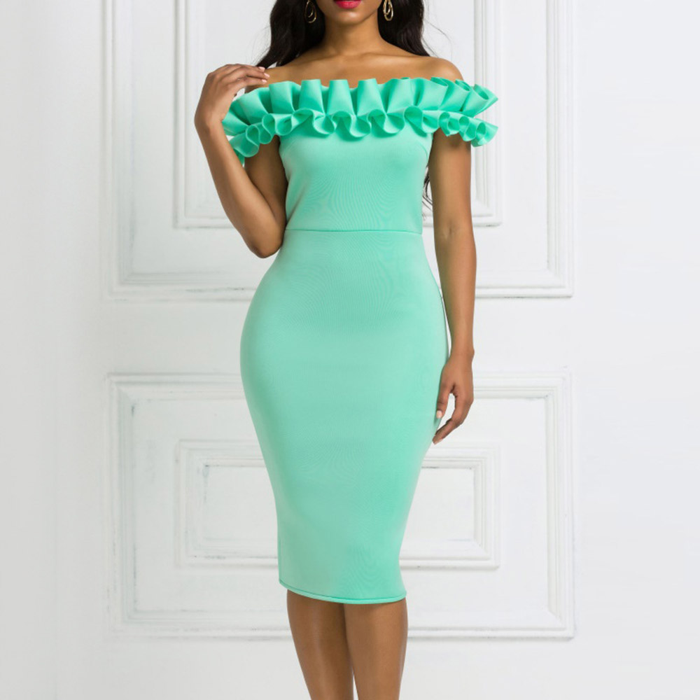 Summer 2020 African Dresses Woman Party Night Off Shoulder Sexy Backless Elegant Fashion Knee Length Cocktail Dress Green