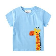 Kids Giraffe Shirt Tops Animal Summer Boys Camisetas Tee Applique Koszulki New
