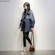 Denim jacket female 2019 autumn new Korean version loose slim hooded windbreaker  women trench coat for A118Z40
