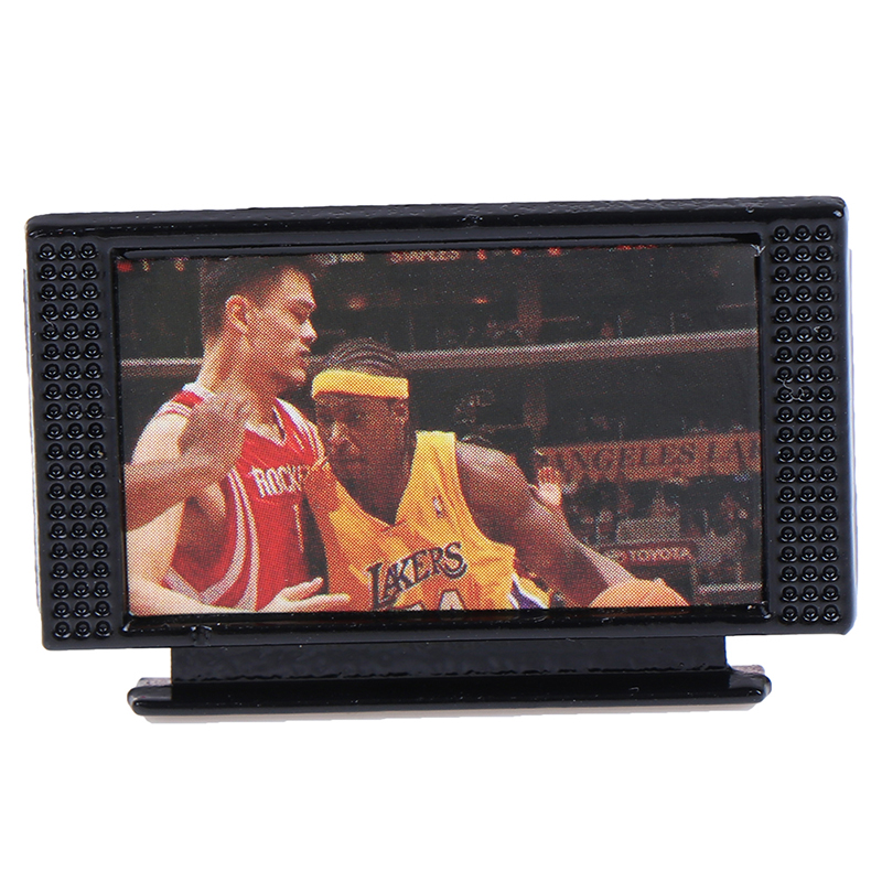 1:12 Dollhouse Miniature TV Cute Mini Black Flat-Panel LCD Television Living Room Furniture Accessory