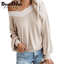New Solid Women Sweater V Neck Loose Knit Sexy Off Shoulder Autumn Long Sleeve Pullovers Christmas