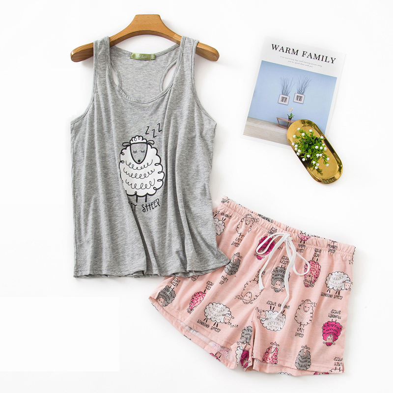 Pajamas For Women Spring Summer Cotton Pajama Set New Women Sleepwear Sexy Sleeveless Tops And Shorts Vest Suit Women Pajamas