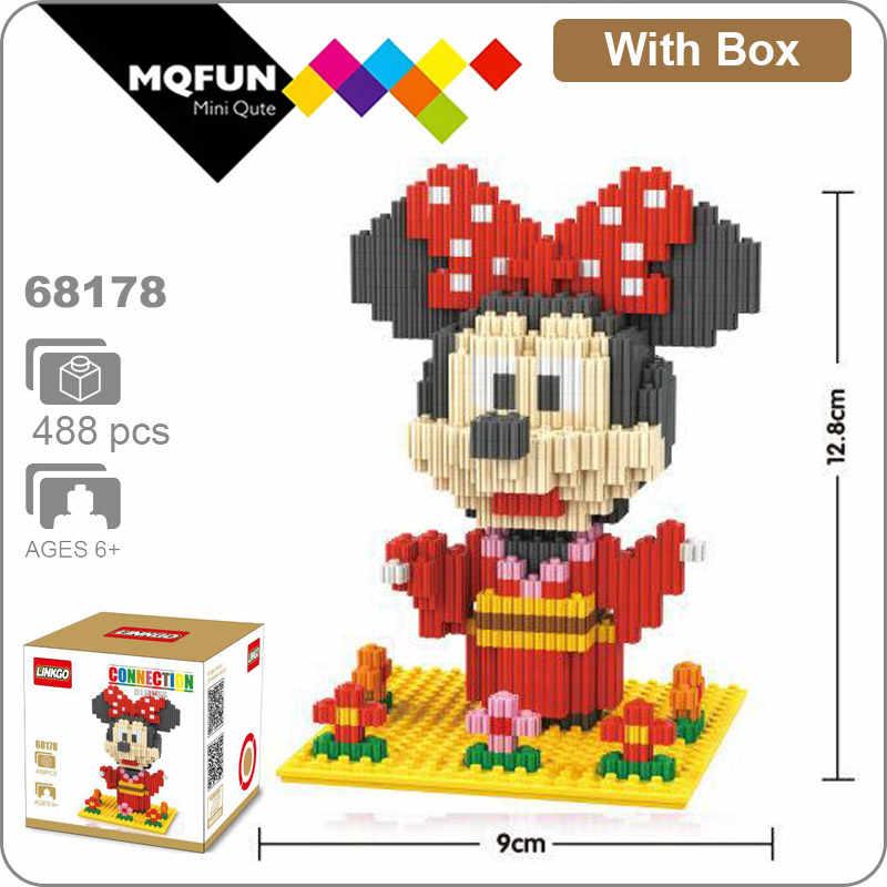 Linkgo Karikatür kimono Mickey Minnie Mouse Rilakkuma Ayı hayvan Mini Blokları Elmas Tuğla Diy Mini Yapı çocuk eğitici oyuncak