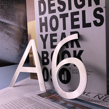 House Numbers 0-9 ABC Outdoor Metal 3D modern silver Stainless Steel Lettre Sign Address Home Hotel apartment door number plate image