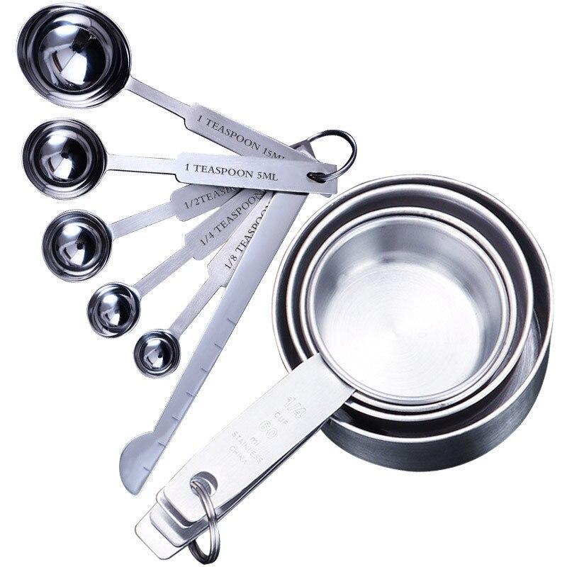4/5/6/8/10 pçs copos de medição e colher de medição colher de silicone lidar com ferramenta de medição de cozinha copos e colheres conjunto #25
