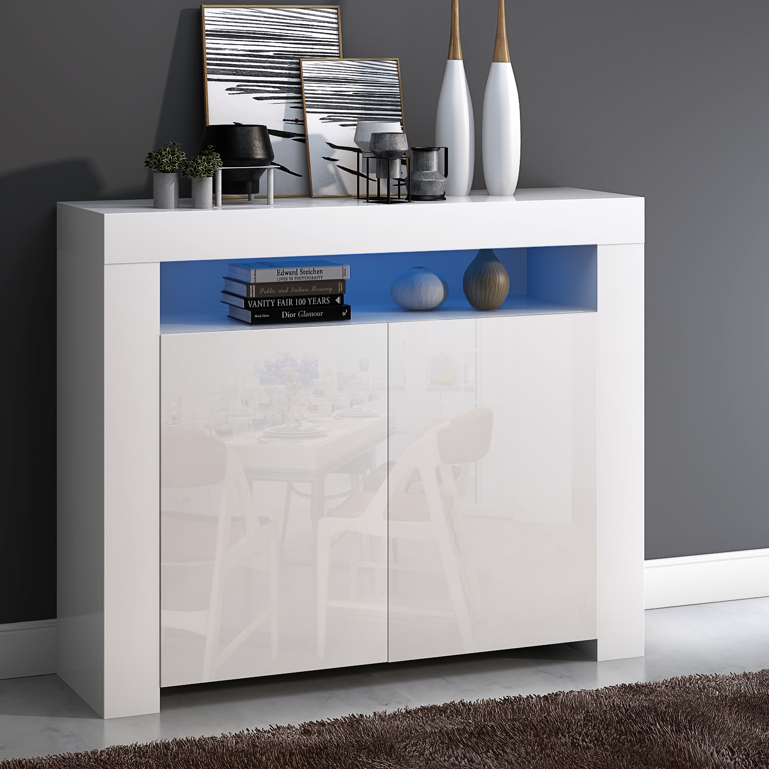 Panana Two High Gloss Doors Sideboard Storage Cabinet With RGB Multicolor LED Lighting Livingroom Display Furnitures