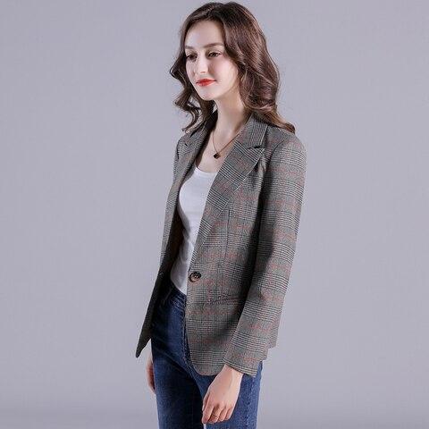 2019 Russia Plaid Women Blazer Pockets Jackets Female Retro Suits Coat Feminino Outerwear Islamabad