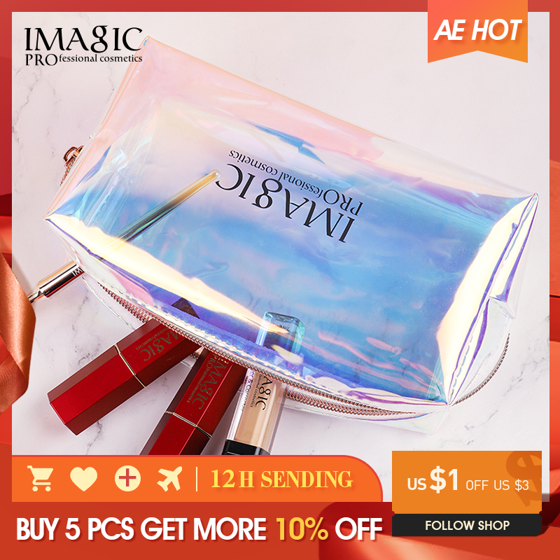 IMAGIC Laser Fashion Cosmetics TPU Waterproof And Convenient To Clean And Travel Essential Makeup Storage Bag Female