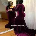 SATONOAKI Sexy sirena vestidos de graduación 2019 para niñas negras de terciopelo de manga larga con cuello en V vestido de fiesta corte tren vestidos de noche largos