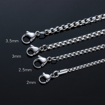 TJP Wholesale Silver Color 316L Stainless Steel 2.0-4.0mm Square Rolo Chain Pendant Necklace Jewelry for women/men