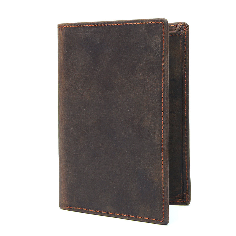 men genuine leather card holder travel solid passport cover wallet
