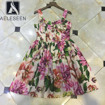 Vestido de playa de verano para mujer de AELESEEN, vestido elegante con estampado de flores y diamantes y botones 3D