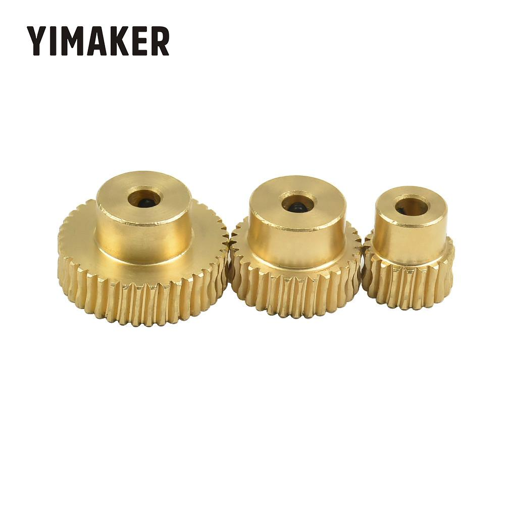 YIMAKER 0.5 Modulus Hole 4 Copper Worm Wheel Gear Large Reduction 1:20 1:30 1:40 Worm Turbine Motor Gear