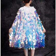 Плащ русалки для девочек, детская яркая накидка с блестками, плащ принцессы Ариэль, детский Блестящий яркий карнавальный костюм Ариэль, нарядное платье