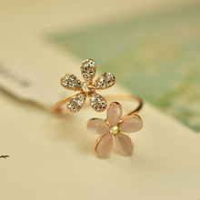 Mossovy Charms Zircon Flower Adjustable Wedding Rings for Woman Delicate Ring Fashion Female Jewelry Anillos Mujer Bague