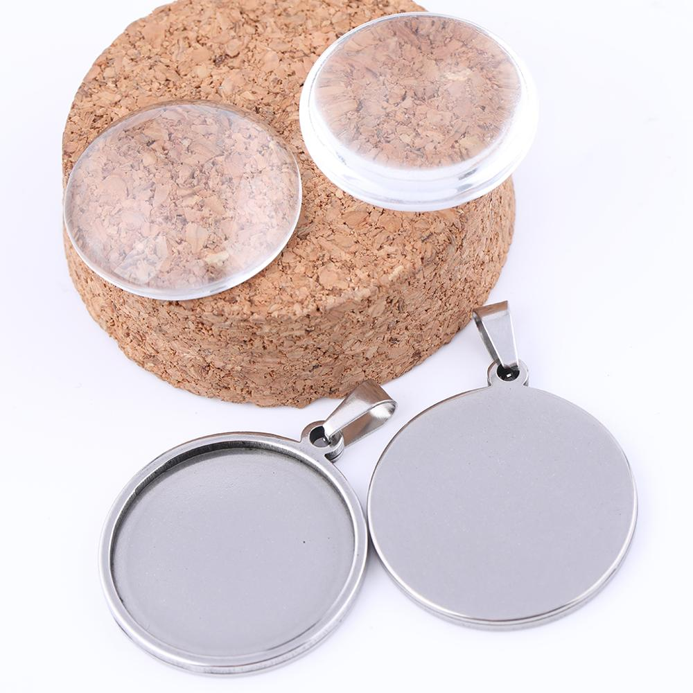 10pcs Stainless Steel 25mm Blank Cabochon Settings Diy Rose Gold Black Pendant Base Trays Diy Necklace Jewery Bezels