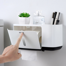 Toilet Paper Holder With Two Storage Waterproof Bath Kitchen Black Roll Wall Mounted Shelf For