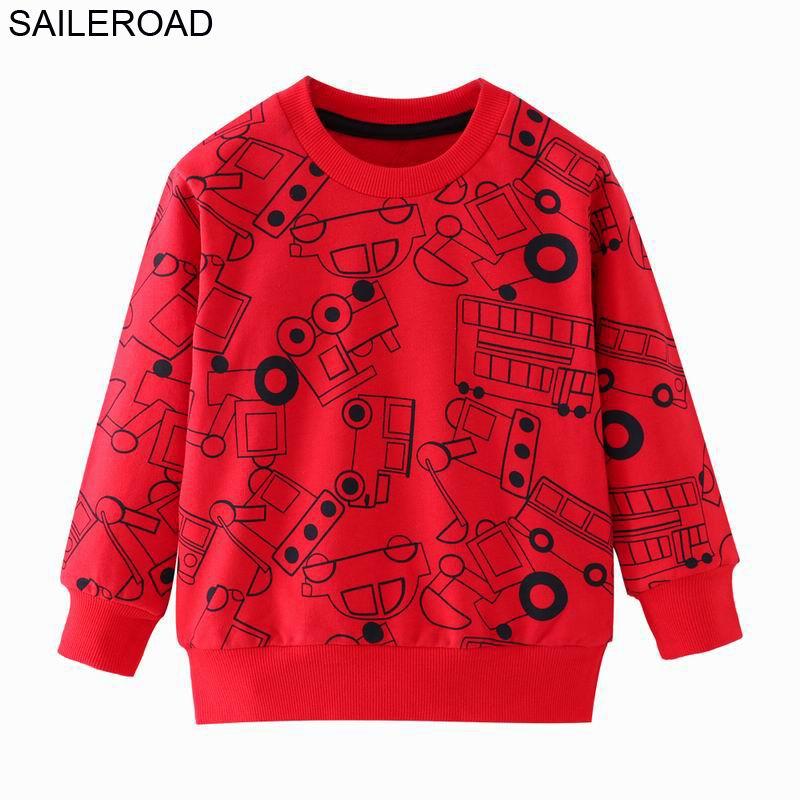 SAILEROAD a Little Boy Long Sleeve Sweatshirts Vehicle Truck Car Kids Boys Tops Autumn 2019 Hoodies for Children Shirts 1