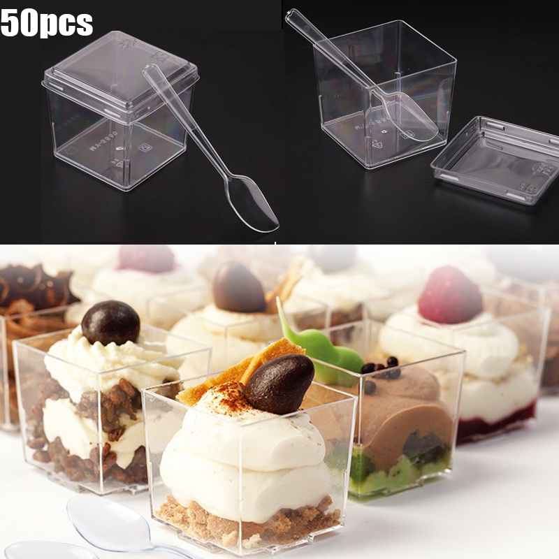 50Pcs/Set Transparent Disposable Tableware Dessert Cup Lid Spoon Pudding Mousses Yougurt Jelly Container Party Birthday Supplies
