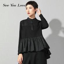 Ver you love 2019 nuevo Otoño Invierno Stand Collar manga larga negro suelto dobladillo plisado Stitch Irregular camiseta mujer moda marea