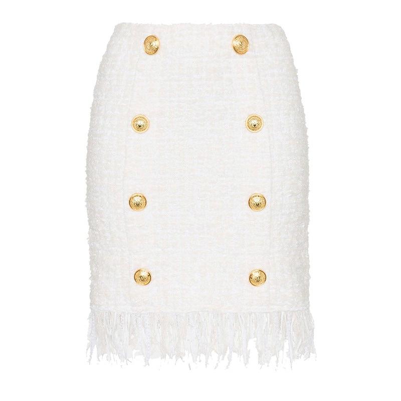 HIGH QUALITY Newest 2021 Fall Winter Designer Skirt Women's Tassel Fringed Lion Buttons Tweed Skirt
