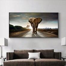 Картина на холсте с изображением слона дороге настенный постер