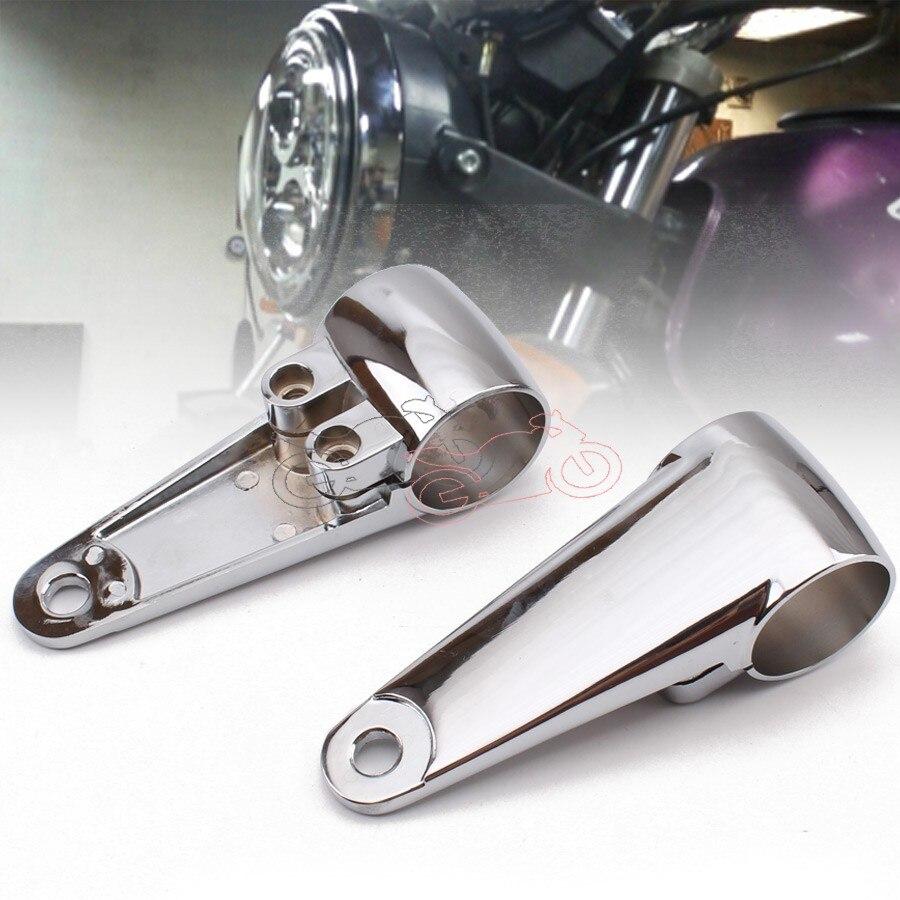 Chrome Aluminum 1set Universal Fit Motorcycle Headlight Head Lamp Mount Bracket 35/39/41mm Fork Ears For Harley Sportster Honda